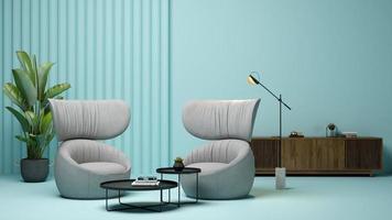 intérieur d'un salon moderne en rendu 3d photo