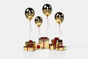 Boîte cadeau 3D avec des ballons sur fond photo