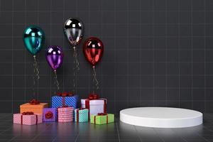 Coffrets cadeaux 3D avec des ballons sur fond photo
