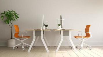 intérieur de l'espace de travail moderne en rendu 3d