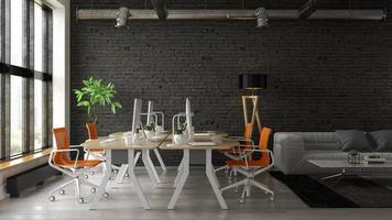 Intérieur d'un salon moderne et espace de travail en rendu 3d photo
