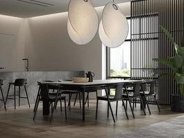 Intérieur minimaliste d'un salon moderne en rendu 3d