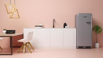 Intérieur d'un salon moderne et cuisine en rendu 3d