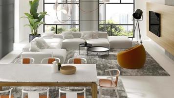 intérieur minimaliste d'un salon moderne en illustration 3d