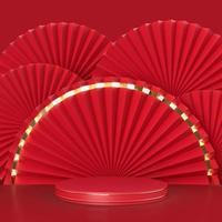 médaillon de fan de papier abstrait avec podium sur fond photo