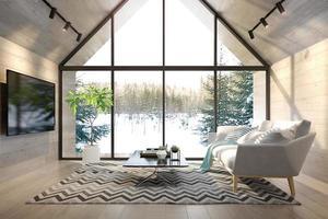 Un salon intérieur d'une maison forestière en illustration 3d photo