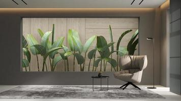 Intérieur minimaliste d'un salon moderne en rendu 3d photo