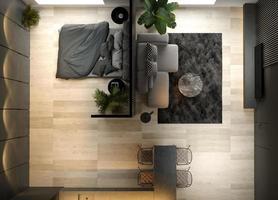 Vue de dessus d'un intérieur minimaliste d'un salon moderne en rendu 3d photo