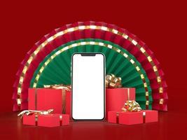 fan de papier médaillon 3d pour le nouvel an chinois avec smartphone isolé photo