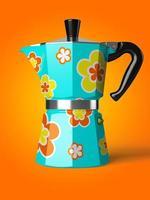 Pot de café vintage isolé sur fond orange en rendu 3d photo