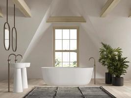 Intérieur de la salle de bain dans le grenier en rendu 3d