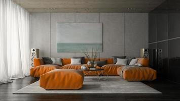 salle de design moderne intérieur en rendu 3d photo