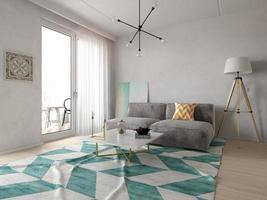 Intérieur d'un salon moderne avec un canapé et des meubles en rendu 3d