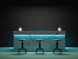 Salle intérieure avec un comptoir de bar en rendu 3d