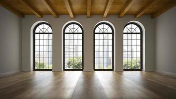 Chambre loft vide avec fenêtres à arc en rendu 3D