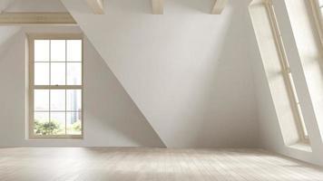 Chambre intérieure mansardée vide en illustration 3d photo