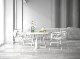design d'intérieur blanc en rendu 3d photo