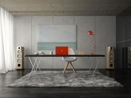 Intérieur d'une salle de bureau moderne en rendu 3d photo