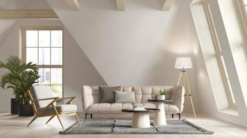 Chambre intérieure mansardée de couleur blanche en illustration 3d