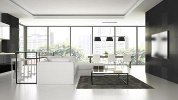 Intérieur d'un loft design moderne avec un canapé blanc en rendu 3d