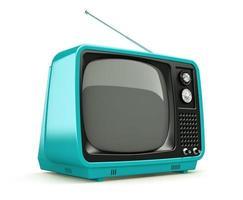 tv rétro bleu isolé sur fond blanc photo