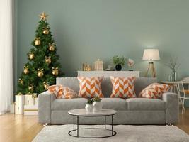 Intérieur du salon moderne avec un arbre de Noël en rendu 3d photo