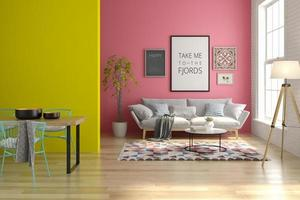 Intérieur d'un salon moderne avec un canapé et des meubles en rendu 3d photo