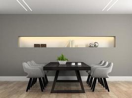 Salle à manger intérieure moderne avec une table en rendu 3d
