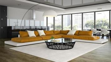 Loft design intérieur moderne avec un canapé orange en rendu 3d