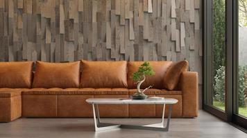 Intérieur d'une chambre moderne avec un canapé en rendu 3d photo