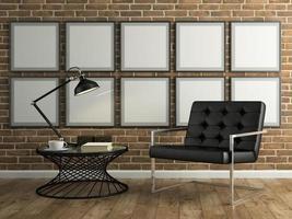 partie d'un intérieur avec mur de briques et un fauteuil noir en rendu 3d