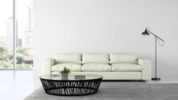 Partie d'une salle de design intérieur moderne avec un canapé et une lampe en rendu 3d