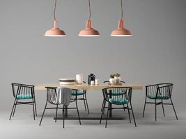Salle de design d'intérieur avec un concept de table et chaises en illustration 3d photo