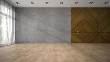 Salle de design moderne vide avec un placard en bois en rendu 3d photo