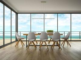 Salle de design intérieur moderne avec vue sur la mer en rendu 3d