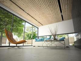 intérieur d & # 39; une pièce moderne en illustration 3d photo