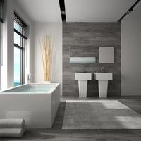 Intérieur d'une salle de bain avec vue sur la mer en rendu 3d photo