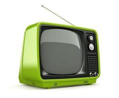tv rétro vert isolé sur fond blanc photo