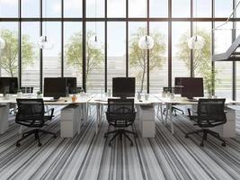Bureau de l'espace ouvert moderne intérieur en illustration 3d photo