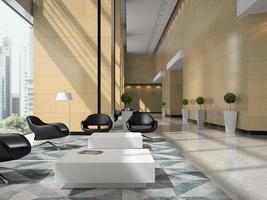 Intérieur d'une zone de réception de l'hôtel en illustration 3d