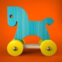 Jouet cheval en bois bleu sur fond rouge en illustration 3d