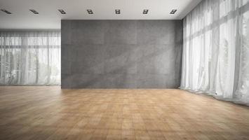 Salle de design moderne vide avec parquet en rendu 3d photo
