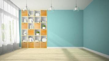 salle vide avec des étagères orange en rendu 3d photo