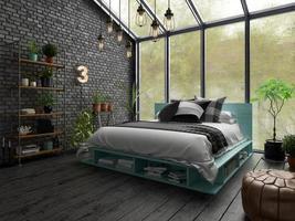 design d'intérieur de chambre à coucher en rendu 3d photo