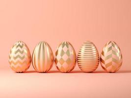 oeufs de pâques sur fond rose en illustration 3d photo