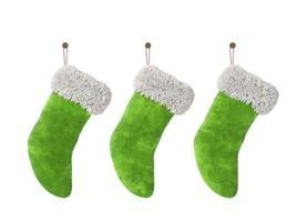 Trois bas de Noël isolés sur fond blanc dans le rendu 3D photo