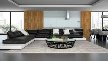 Loft design intérieur moderne avec un canapé noir en rendu 3d