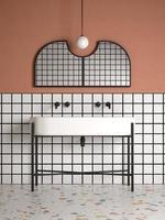 Salle de bains intérieure conceptuelle de style memphis en illustration 3d
