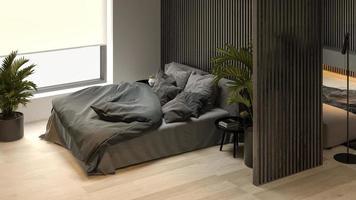 Vue inclinée d'un intérieur minimaliste noir d'une maison moderne en rendu 3d photo