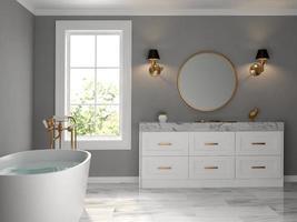 un style classique d'une salle de bain intérieure en rendu 3d